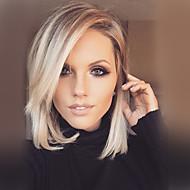 נשים שיער ללא שיער צהוב קצר ישר תספורת בוב תספורת שכבות עם פוני חלק צד