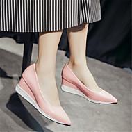 옥스포드-캐쥬얼-여성-컴포트-PU-낮은 굽-그레이 핑크