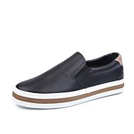 Dame 一脚蹬鞋、懒人鞋 Komfort Lerret Vår Avslappet Komfort Flat hæl Hvit Svart 2,5 - 4,5 cm