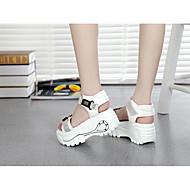 Sandály-Plátno-Pohodlné-Dámské-Bílá Černá-Běžné