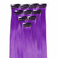 Neitsi 10pcs 18inch Colored Highlight Synthetic Clip on in Hair Extensions Purple