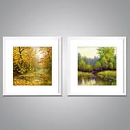 Impresiones  Enmarcadas En Lienzo Paisaje Floral/Botánico Modern Realismo,Dos Paneles Lienzos Cuadrado lámina Decoración de pared For