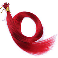 горячего цвет расширения #red нано наконечник волосы для женщин 10a перуанского Remy человеческих волос кератина расширений слитого волоса