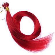 meleg szín #red nano tip haj kiterjesztések nők 10a perui Remy emberi haj keratin fúziós haj kiterjesztések nano tip haj 100 szál 1g /
