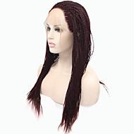 Sylvia laço sintético frente peruca vinho escuro cabelo trançado pequenas tranças aquecer perucas sintéticas resistentes