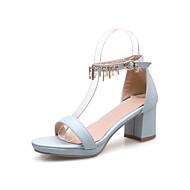Feminino-Sandálias-Conforto Sapatos clube-Salto Grosso-Preto Bege Azul Rosa claro-Couro Ecológico-Escritório & Trabalho Social Casual