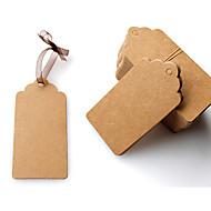 100pcs 4 * 8 centímetros DIY papel kraft etiquetas marrom rendas vieira rótulo cabeça bagagem nota casamento preço em branco pendurar Tag
