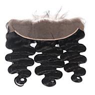 onda cabelo humano solto fecho frontal brasileira virgem 134 laço com cabelo bebé 8 -18 natural do cabelo humano preto não transformados