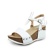 Damen Sandalen Komfort Slouch Stiefel PU Frühling Sommer Normal Walking Komfort Slouch Stiefel Schnalle Keilabsatz Weiß Schwarz Kaffee Rot