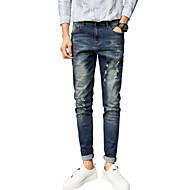 Herren Vintage Einfach Mittlere Hüfthöhe Micro-elastisch Jeans Schlank Hose,Ripped einfarbig