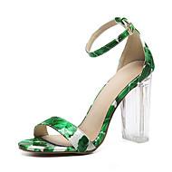 נשים-סנדלים-דמוי עור-נוחות חדשני גלדיאטור נעלי מועדון-שחור ירוק כחול-חתונה שטח משרד ועבודה שמלה יומיומי ספורט מסיבה וערב-עקב קריסטל