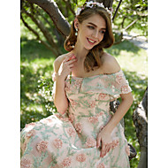 Cocktail Party Dress Ball Gown Off-the-shoulder Tea-length Polyester with Embroidery