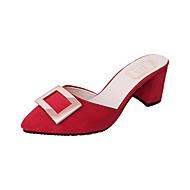 Naiset Sandaalit Comfort PU Kevät Comfort Leveä korko Musta Armeijan vihreä Punainen Vaalean ruskea 4-4,75in