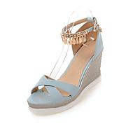 Feminino-Sandálias-Conforto Sapatos clube-Anabela-Branco Preto Azul Rosa claro-Couro Ecológico-Casamento Escritório & Trabalho Social