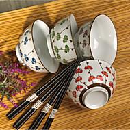 dentes sorte alta temperatura porcelana jantar tigela definido com quatro cores diferentes, pauzinhos incluído