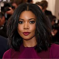 Kadın Orta Siyah Saç Afrikalı Amerikan Peruk Siyah Kadınlar İçin Sentetik Saç Bonesiz Doğal Peruk Cadılar Bayramı Peruk Karnaval Peruk