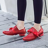 Dame-PU-Flat hæl-Komfort-一脚蹬鞋、懒人鞋-Fritid-Svart Rød Mandel