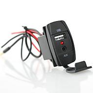 Iztoss סגנון רוכב מכונית מטען USB 3.5mm aux - עם כחול הוביל אור 2.1a שקע חשמל USB עבור משאית רכב סירה הקרוואן