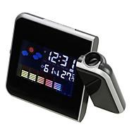 Elektronický digitální lcd stůl budík časovač promítání projektor teploměr vlhkoměr meteorologická stanice snooze kalendář