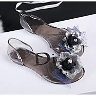 Women's Slippers & Flip-Flops T-Strap Light Up Shoes Neoprene Dress Flat Heel Black Blushing Pink Flat