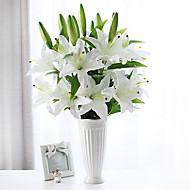 1 ענף משי חבצלות פרחים לשולחן פרחים מלאכותיים