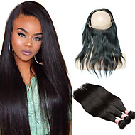 8A Pre Plucked 360 Lace Frontal With Bundles Straight Peruvian Virgin Hair 3 Bundles With 360 Frontal Band Lace Closure Human Hair