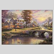 Pintados à mão Paisagem Horizontal Panorâmica,Moderno Clássico 1 Painel Tela Pintura a Óleo For Decoração para casa