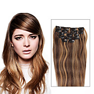 7 Pcs/Set P4/27 Piano Color Mixed Brown Blonde  Clip In Hair Extensions 14Inch 18Inch 100% Human Hair