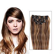 7 kpl / setti P4 / 27 piano väri sekoitettu vaalea ruskea clip hiusten pidennykset 14 tuuman 18inch 100% hiuksista