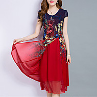 Women's Plus Size Going out Vintage Sophisticated A Line Chiffon Dress,Print Sweetheart Midi Short Sleeve Polyester Summer Mid Rise