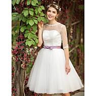 A-line Wedding Dress See-Through Tea-length Bateau Tulle with Appliques Sash / Ribbon