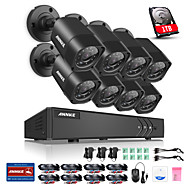 ANNKE® 8CH HDMI DVR 8PCS 720P HD Outdoor Indoor Waterproof Camera Surveillance Security System with Clear Night Vison Smart Remote Monitor 1TB