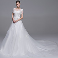 A-line Wedding Dress Cathedral Train Bateau Tulle with Appliques Beading Pearl Sequin