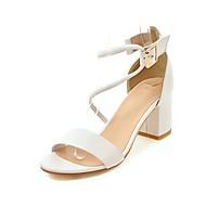 Dame-Kunstlær-Tykk hæl-Komfort-Sandaler-Formell Fritid-Hvit Svart Beige