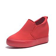 Damen Schuhe Leinwand Frühling Herbst Komfort Loafers & Slip-Ons Keilabsatz Für Normal Schwarz Rot