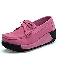 女性-ドレスシューズ カジュアル-スエード-プラットフォーム-プラットフォーム-フラット-ブラック ブルー ピンク レッド グレイ