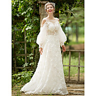 A-line Wedding Dress - Chic & Modern See-Through Court Train Scoop Lace Tulle with Pearl