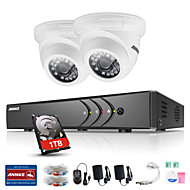 ANNKE® 4CH 2PCS TVI 720P Video Monitor IP Network CCTV AHD DVR P2P Camera Home Surveillance Security System