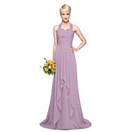 LAN TING BRIDE Floor-length Halter Bridesmaid Dress - Elegant Sleeveless Chiffon