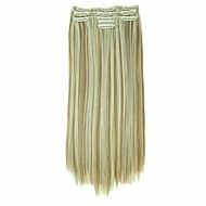 False Hair Extension 11 Clips Clip in Hair Extensions Synthetic Hair Apply Hairpiece 22 Long Straight Hairpieces D1020  27H613#
