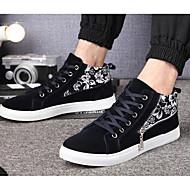 Homens botas primavera queda conforto lona casual escuro azul preto branco