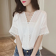 Women's Casual/Daily Sexy Simple Cute Spring Fall Blouse,Solid V Neck Short Sleeve Polyester Medium
