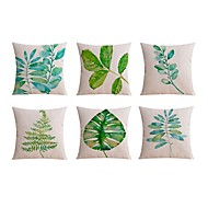 6 pcs Linen Pillow Case Body Pillow Travel Pillow Sofa Cushion,Floral Still Life Graphic PrintsTraditional/Classic Beach Style Tropical