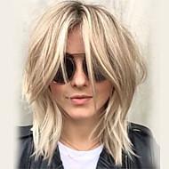 Naisten Ihmisen hiukset Capless Peruukit Platinum Blonde Keskikokoinen Laineikas Kerroksittainen leikkaus Otsatukalla Sivuosa