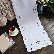 35x175cm Rectangular Embroidered Table Runner White Table Runner Cotton