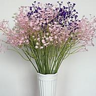 6 Ramo Isopor Plástico Couro Ecológico Fibra Toque real Plantas Gipsofila Flor de Mesa Flores artificiais