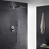 עכשווי ארט דקו / רטרו מודרני מותקן על הקיר תרמוסטטי מקלחת גשם ראש ברז נשלף with  שסתום פליז שני חורי ידית אחת for  כרום , ברז למקלחת