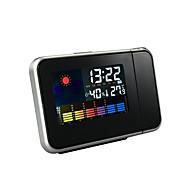 שעון מעורר הקרנה ביתית עם תצוגת טמפרטורה ולחה