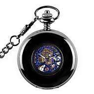 גברים לנשים שעוני שלד שעון כיס שעון מכני אוטומטי נמתח לבד סגסוגת להקה שחור