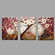 Håndmalte Blomstret/Botanisk Horisontal,Parfymert Europeisk Stil Tre Paneler Lerret Hang malte oljemaleri For Hjem Dekor